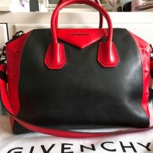 9825e3743134 Givenchy Bags - GIVENCHY Medium Star Embossed Antigona Black Red